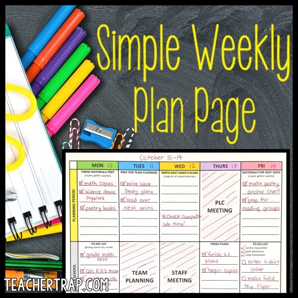 A simple plan page to help teachers conquer their to do lists!